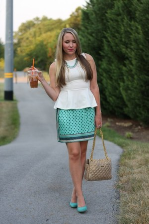 white Topshop top - light pink Rebecca Minkoff bag - turquoise blue Zara pumps