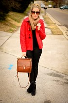 black Target boots - black Seven jeans - red Old Navy jacket - tawny coach bag