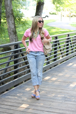 light blue Victorias Secret jeans - bubble gum JCrew shirt