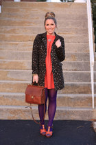 carrot orange BCBG dress - brown Old Navy coat - purple JCrew tights