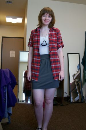 gray skirt - white - red shirt - black necklace - silver - black shoes