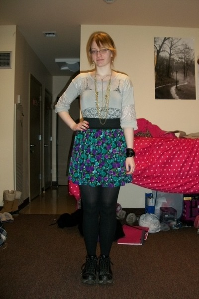 black Dr Martens boots - silver shirt - black opaque tights - gold Forever 21 ne