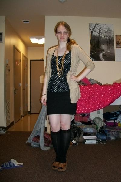 black polka dots dress - black knee high socks - black skirt