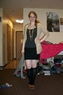 Black-polka-dots-dress-black-knee-high-socks-beige-old-navy-cardigan-black