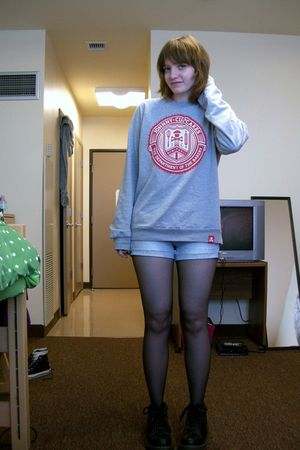 gray Johnny Cupcakes sweater - white American Eagle shorts - black tights - blac