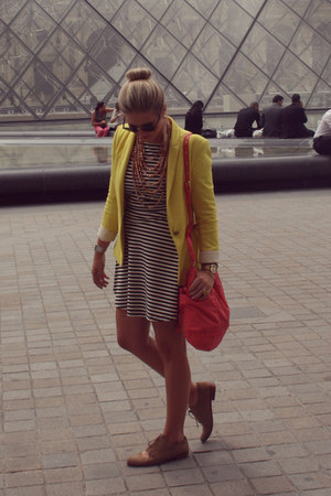 striped gianni bini dress - yellow Zara blazer - Marc by Marc Jacobs bag