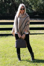 poncho sweater - combat Aldo boots - alma Louis Vuitton bag