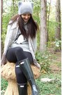 Black-wellies-hunter-boots-heather-gray-hat-topshop-hat