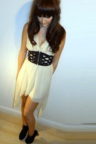 cream Love dress - black Topshop belt