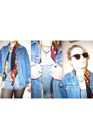 denim vintage jacket - vintage scarf - Primark sunglasses - Firebird necklace