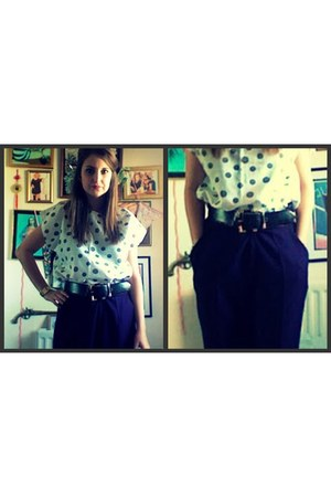 deep purple vintage pants - white vintage shirt - black vintage belt