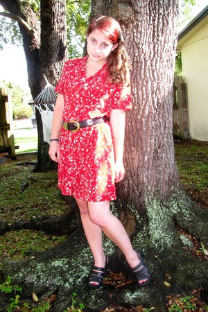 red Goodwill dress - black Goodwill sandals - black Goodwill belt