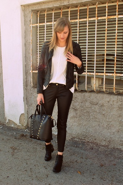 leather Zara jacket - studded H&M bag - leather H&M pants