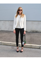Zara blazer - H&M bag - Zara sunglasses - leather H&M pants - Zara vest