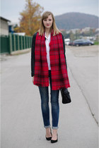 tartan H&M scarf - lbt jeans - Zara jacket - Zara bag - H&M blouse