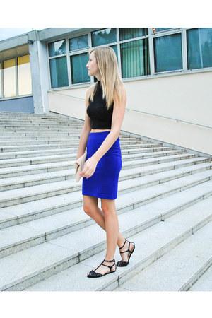 clutch new look bag - crop Primark top - high waisted H&M skirt