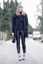 black s oliver coat - black Pull&ampBear sweater - Zara bag - black H&ampM pants