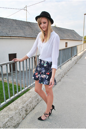 H&M blouse - H&M hat - new look bag - asos heels - frill Zara skirt