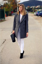 oversized Zara coat - Promod boots - H&M shirt - Zara bag - new look pants