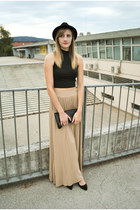 H&M hat - maxi Stradivarius skirt - crop Primark top - Primark heels