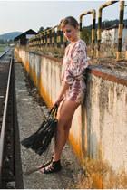 boho Zara romper - fringe chicnova bag - gladiator Bershka sandals