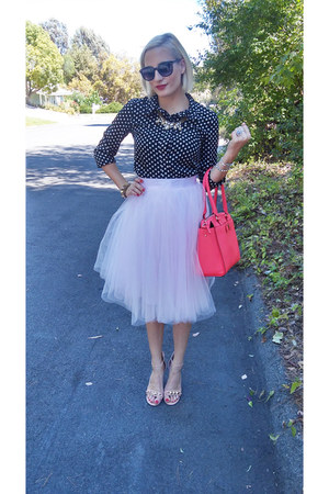 light pink tulle skirt space46boutique skirt - hot pink kate spade bag