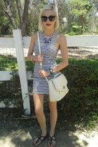 dress stripes Victorias Secret dress - black satchel Forever 21 bag