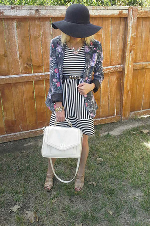 TJ Maxx dress - black wool lulus hat - floral print cotton on blazer
