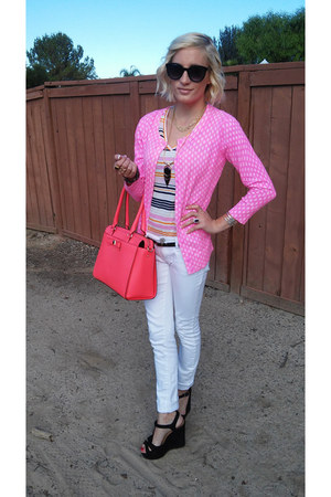 white merona jeans - kate spade bag - merona top - hot pink merona cardigan