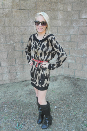 black MinkPink dress - alloy boots - round Target sunglasses
