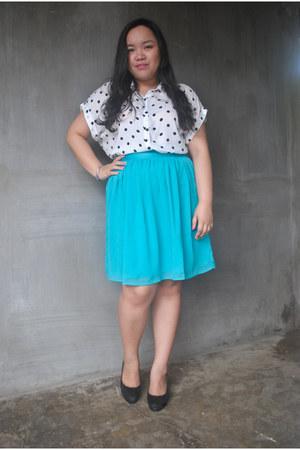turquoise blue Forever21 skirt - white polka dot Forever21 blouse
