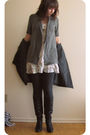 White-forever-21-dress-silver-sirens-cardigan-gray-suzy-shier-jacket-black