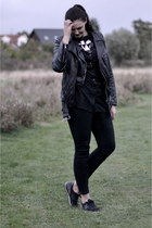 black leather H&M Trend vest - black H&M jeans - black H&M jacket