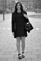 Minimum dress - leather just female jacket - pony hair balenciaga bag