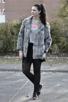 rabit fur vintage jacket - Primark skirt - Blond necklace - H&M t-shirt
