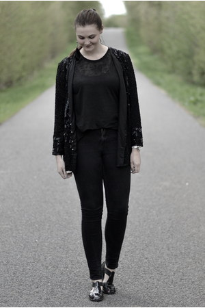 black H&amp;M jeans - black sequin second hand jacket - black Monki top
