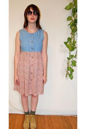 pink vintage dress - beige vintage esprit shoes
