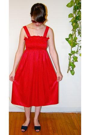 red vintage dress - blue vintage shoes