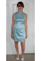 blue vintage dress - white vintage shoes