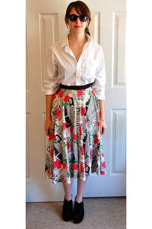 white vintage shirt - red vintage skirt - blue Rachel Comey shoes