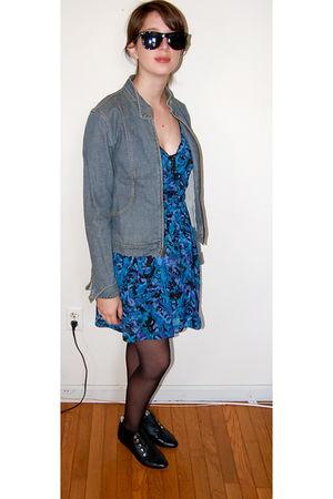 blue Theory jacket - blue bycorpus dress - black Candela NYC shoes - black Urban