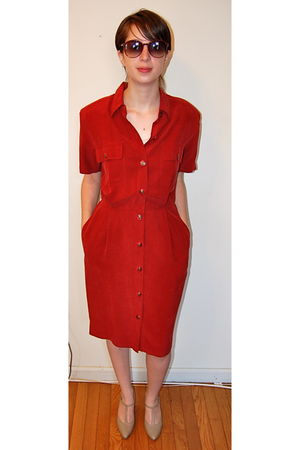 red vintage dress - beige vintage shoes