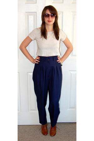 white H&M shirt - blue vintage pants - brown re-mix shoes