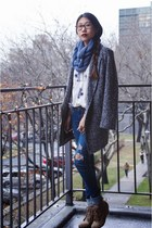 6ks coat - PacSun jeans - DIY scarf - Choies top - Zara wedges