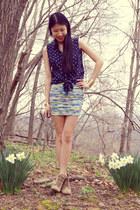 DIY skirt - Zara shoes - Ralph Lauren blouse - leg chain DIY accessories