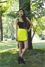 Yellow-material-girl-skirt-black-pacsun-boots-shop-lately-ring