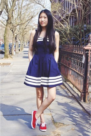 red Keds shoes - navy eShakti dress