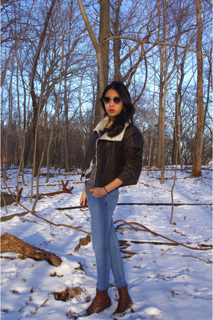 dark brown Target boots - blue H&M jeans - dark brown H&M jacket - Forever 21 sh