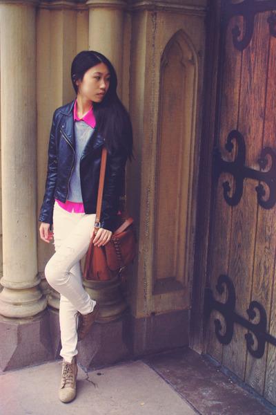 Sheinside jacket - PacSun jeans - Old Navy sweater - H&M bag - Zara wedges