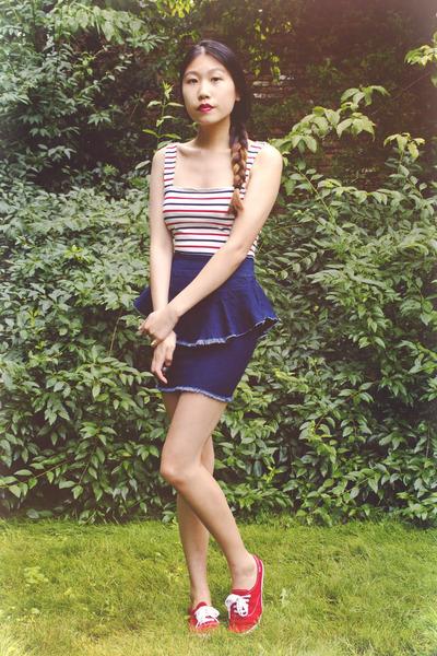 white material girl skirt - blue Motel Rocks top - hot pink Keds sneakers